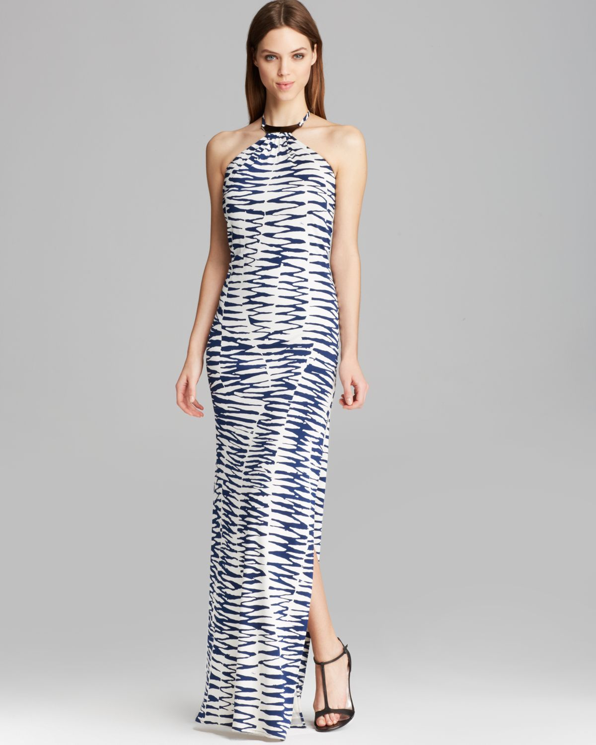 b7c86b72e99 Trina Turk Maxi Dress - Lane High Neck Zebra Jersey in Blue - Lyst