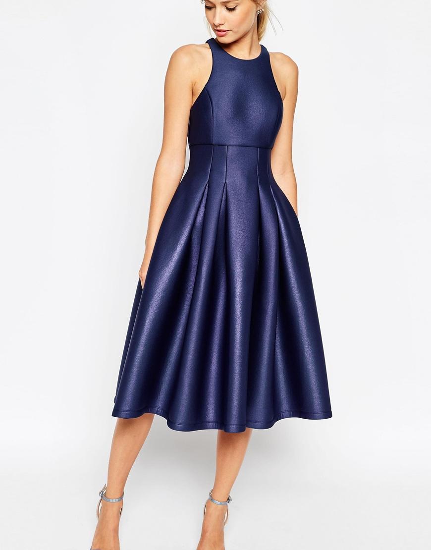 Lyst Asos Salon Shimmer Scuba Ultra Full Prom Dress In Blue
