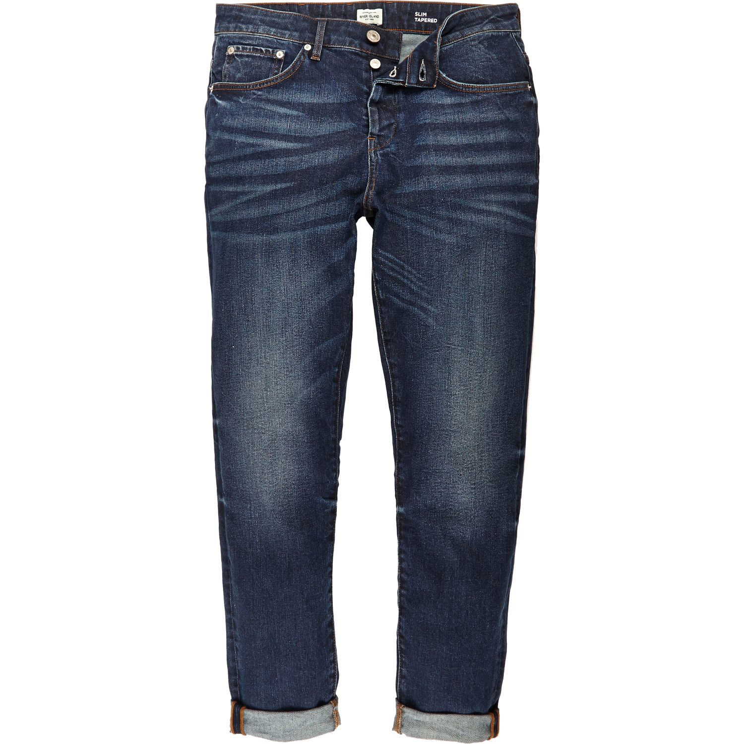 River island Dark Blue Wash Jimmy Slim Tapered Jeans in Blue for Men | Lyst