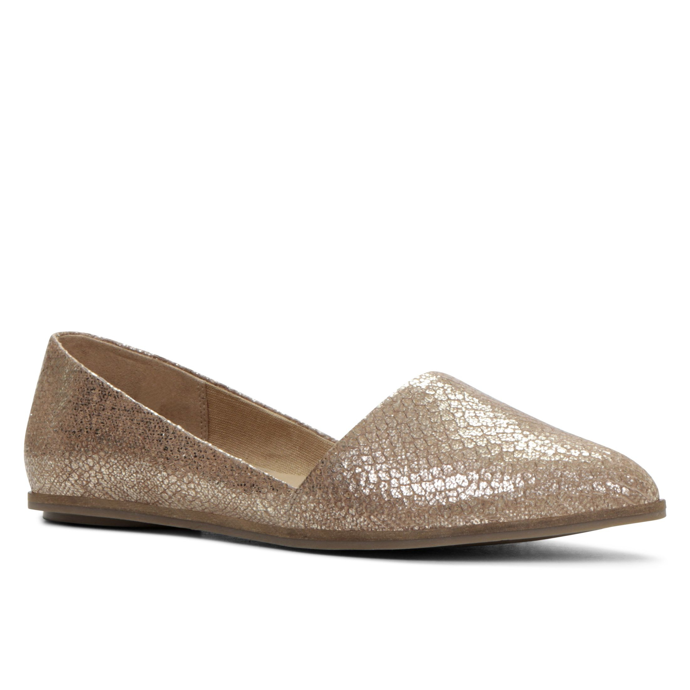aldo welari pointy toe slip on flat shoes in gold lyst
