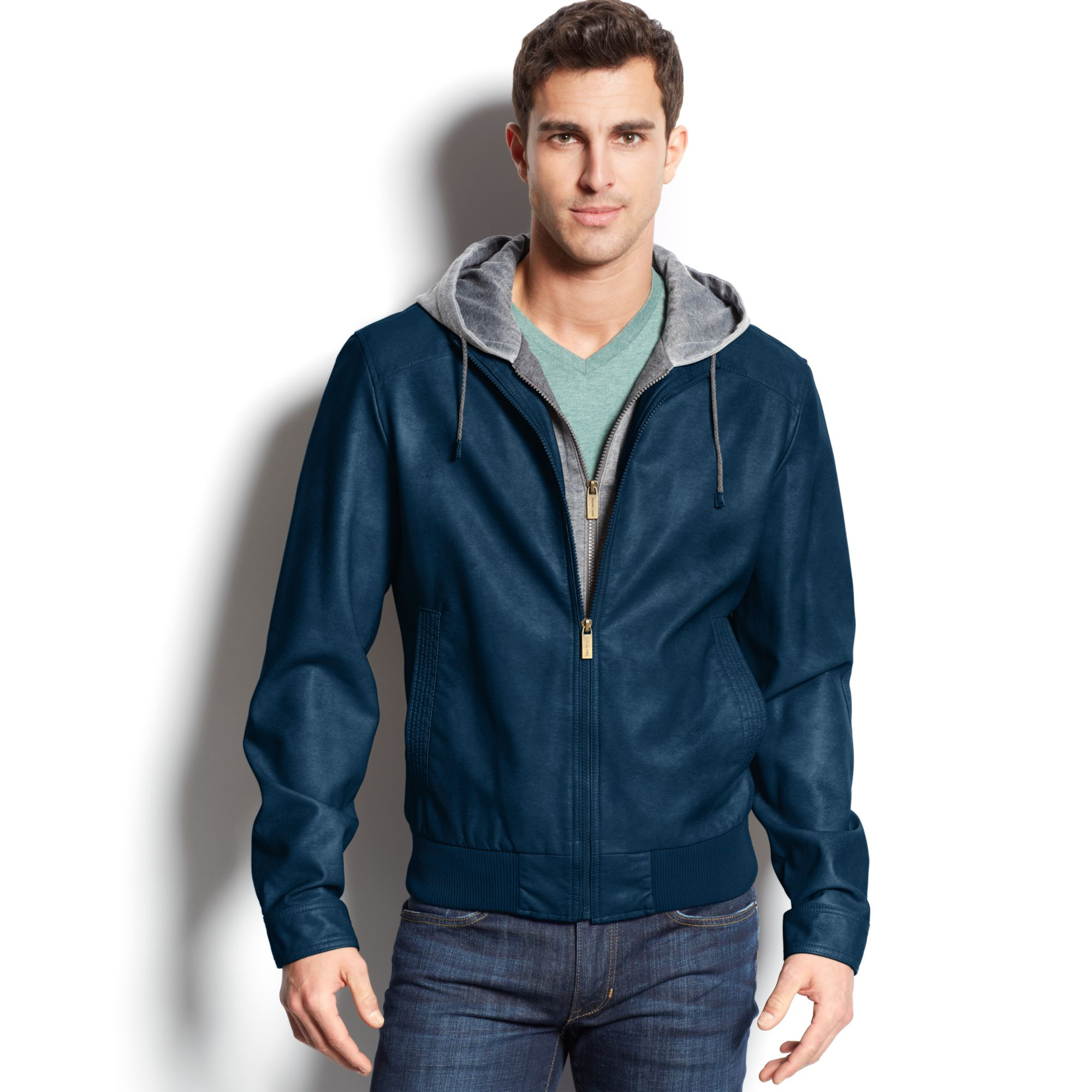 Blue Leather Jacket With Hood | Outdoor Jacket