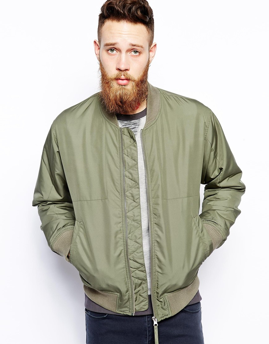 Wood wood Contrast Bomber Jacket in Green for Men | Lyst