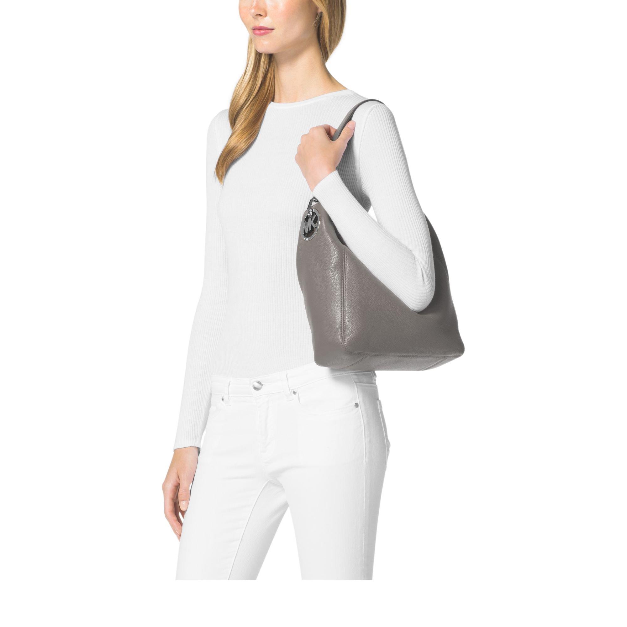 a699ebf1611a Michael Kors Fulton Medium Leather Shoulder Bag in Gray - Lyst