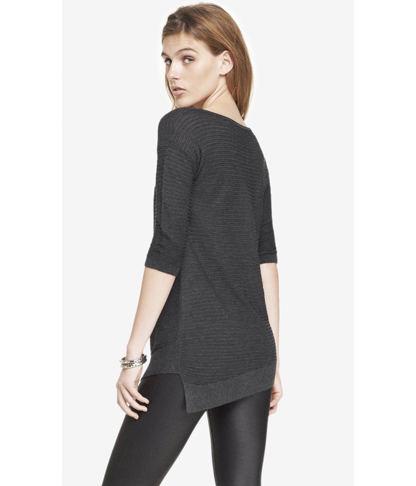 Express Mesh Asymmetrical Hem Tunic Sweater in Gray | Lyst