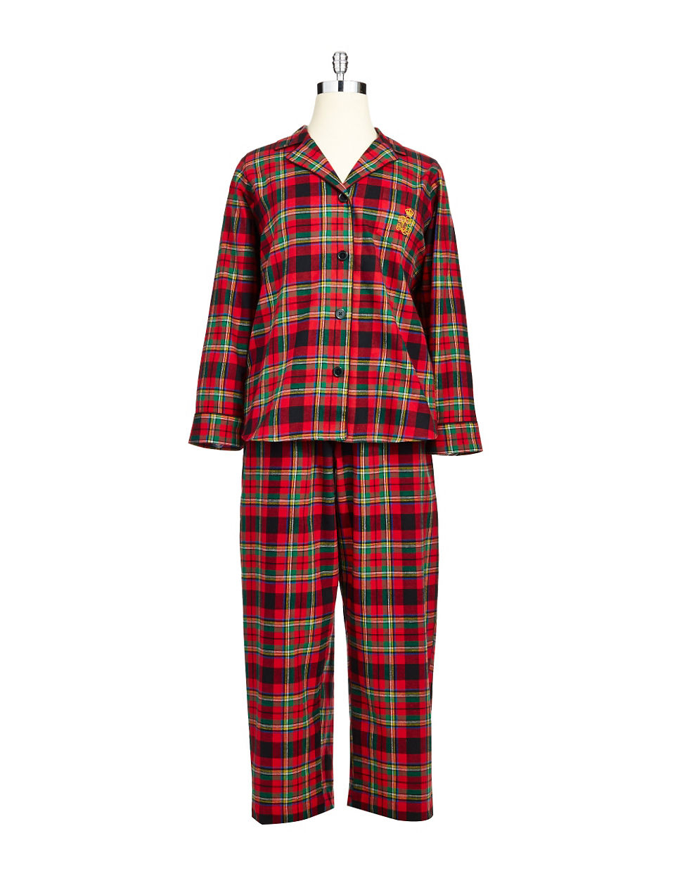 lauren by ralph lauren longsleeve classic notch collar pajama set in red bleeker plaid lyst. Black Bedroom Furniture Sets. Home Design Ideas