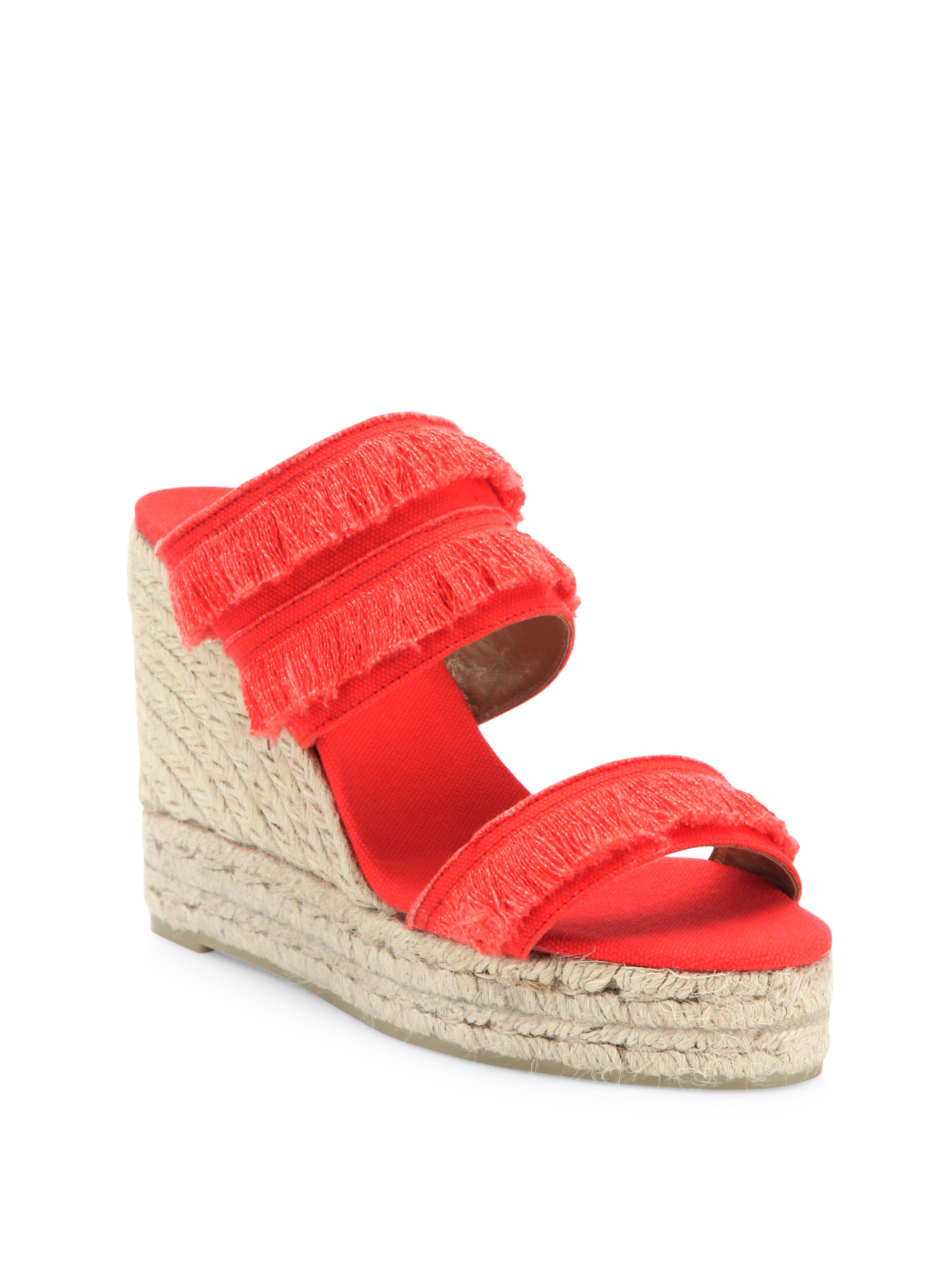 Lyst Castaner Basha Feathered Canvas Espadrille Wedge