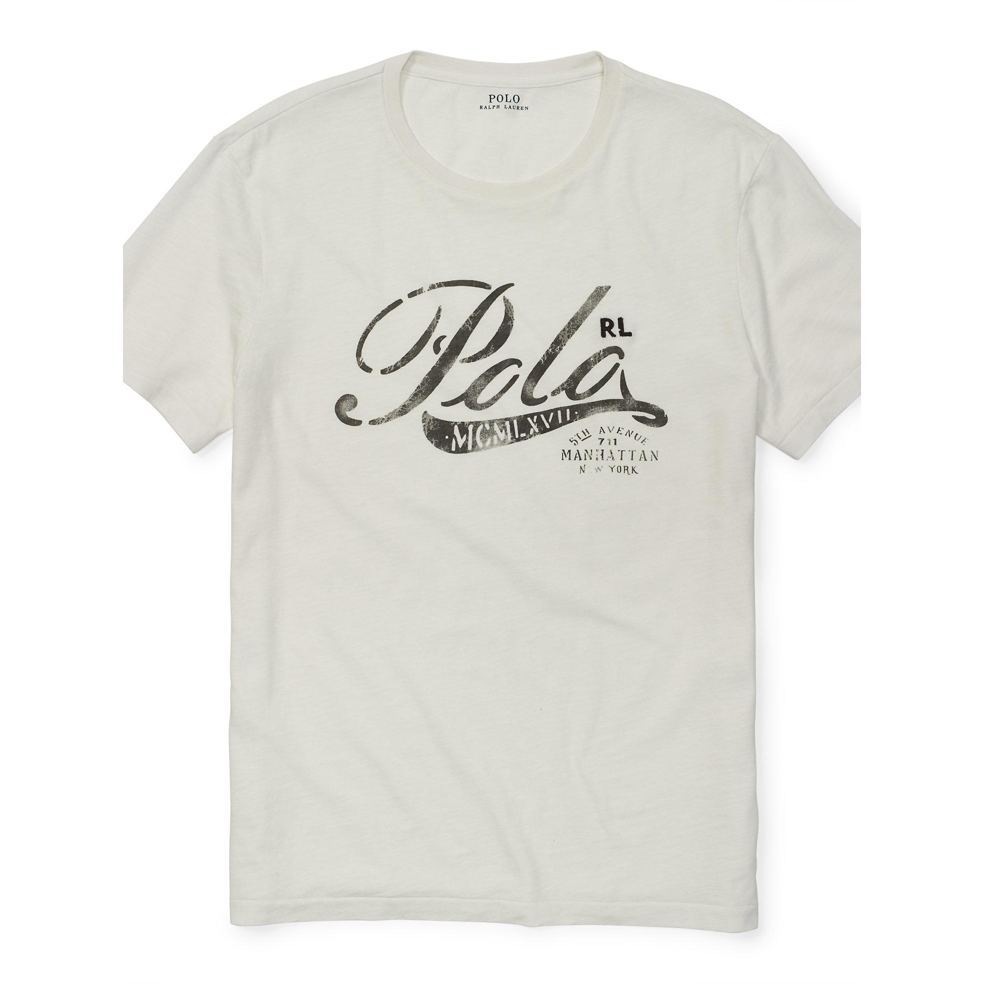 Polo ralph lauren cotton jersey graphic t shirt in white for Ralph lauren polo jersey shirt