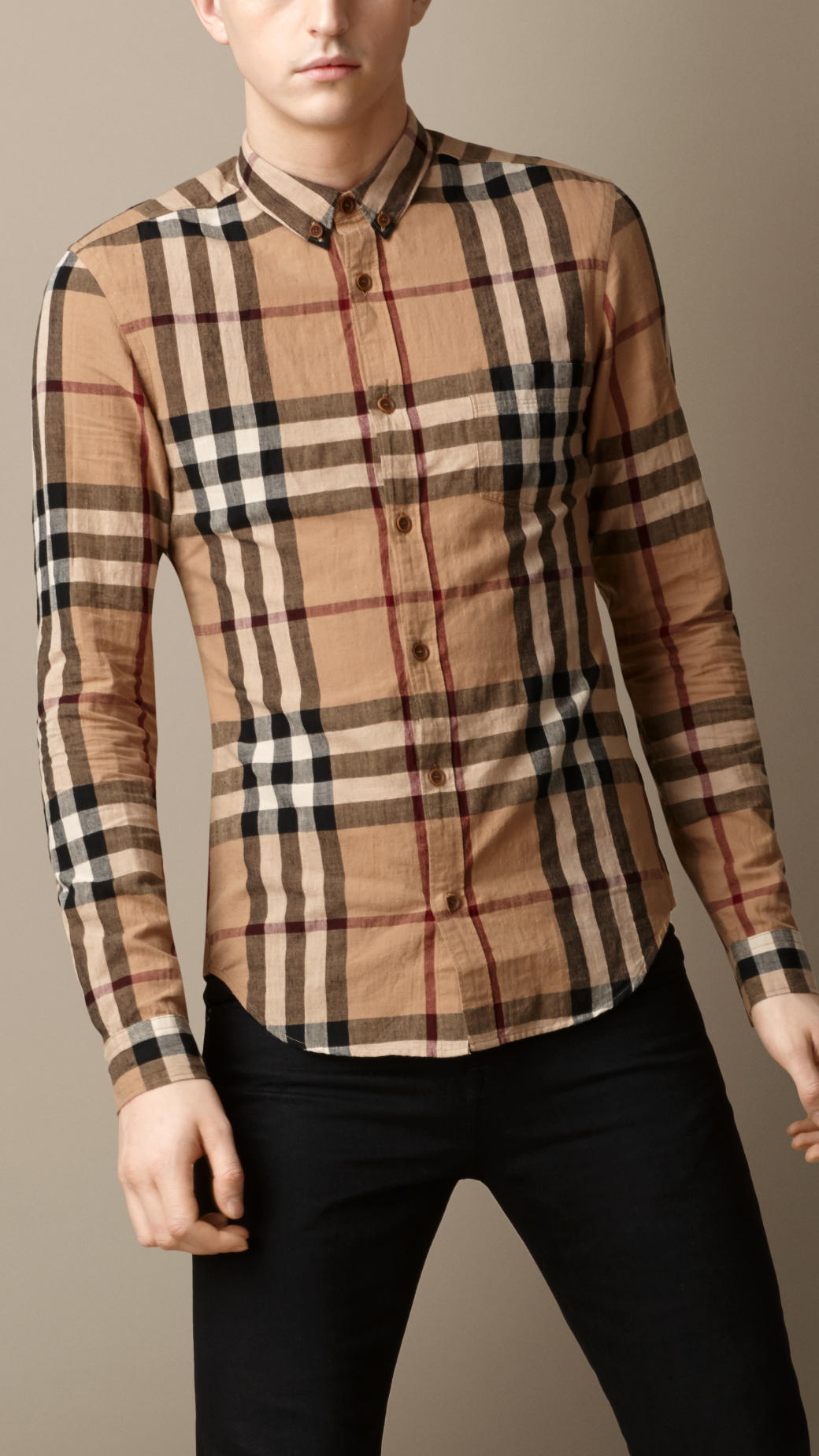Burberry exploded check cotton linen shirt in brown for for Where are burberry shirts made