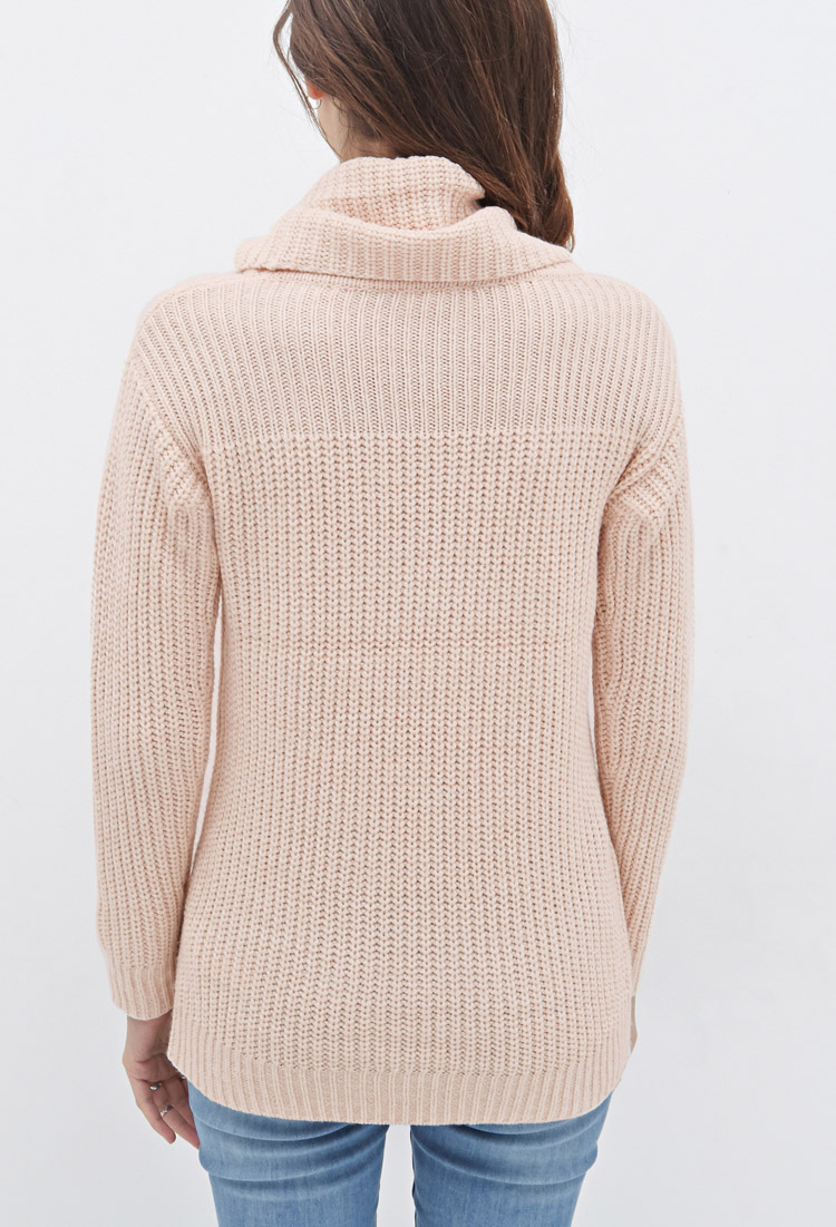 Forever 21 Rib-paneled Cowl Neck Sweater in Pink | Lyst