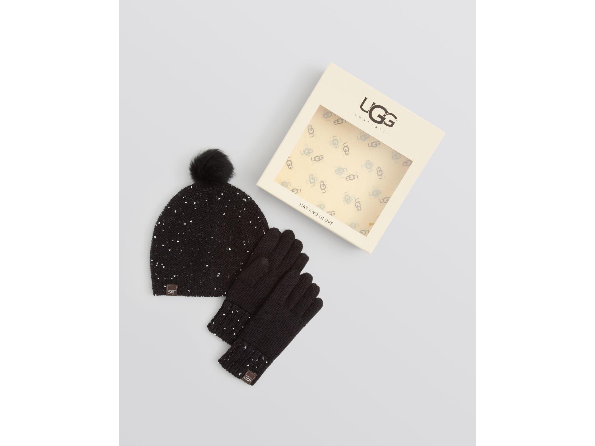 351a1c66c4f35 UGG Ugg® Australia Lyla Sequin Beanie   Gloves Box Set in Black - Lyst