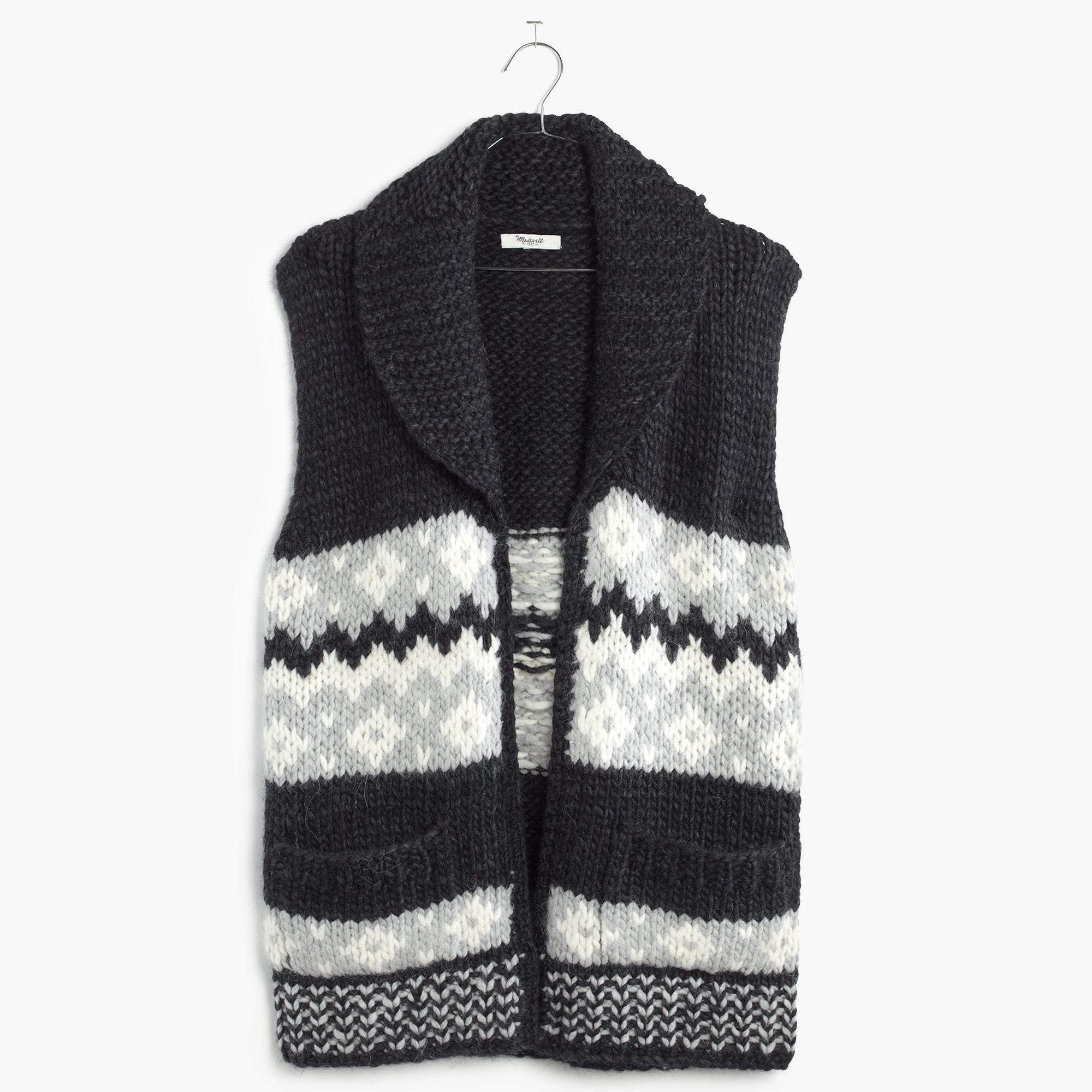 Madewell Handknit Fair Isle Sweater-vest in Black | Lyst