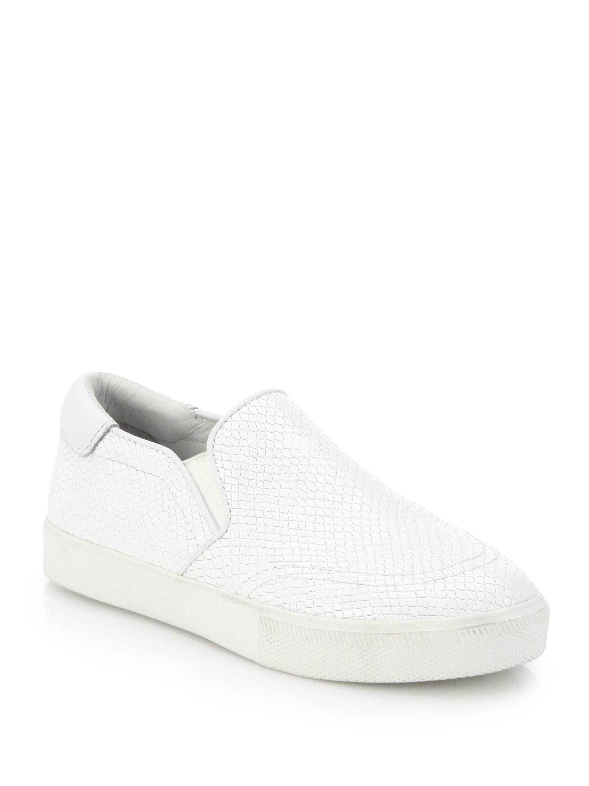 ash impulse embossed leather slip on sneakers in white lyst