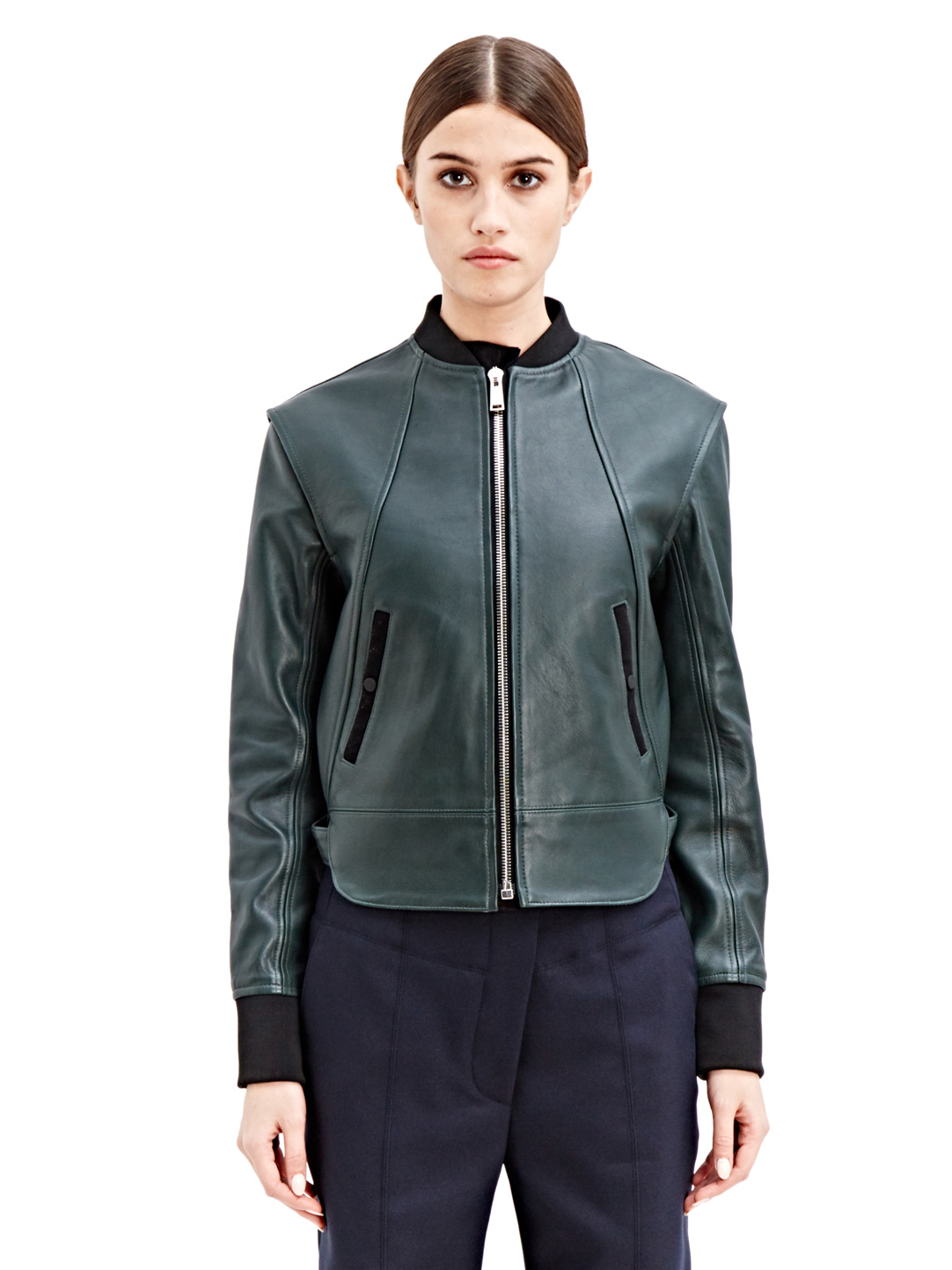 Paco rabanne Womens Leather Bomber Jacket in Green | Lyst