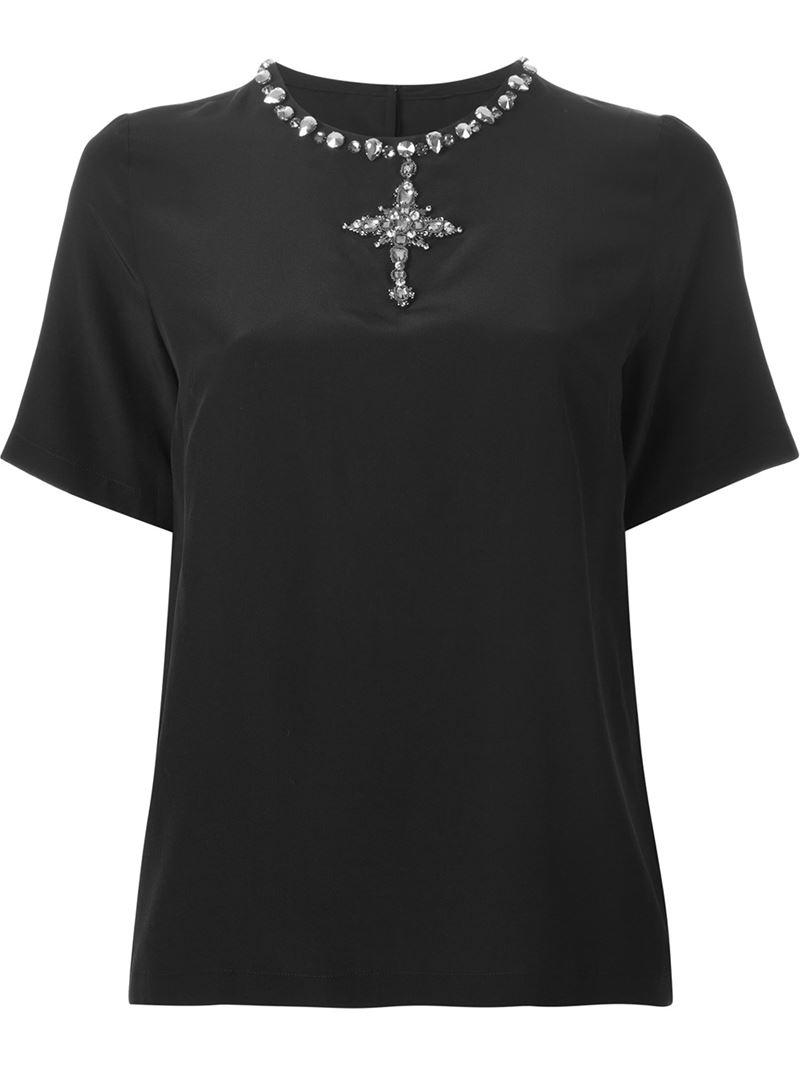 Dolce gabbana embellished cross t shirt in black lyst for Dolce gabbana t shirt women
