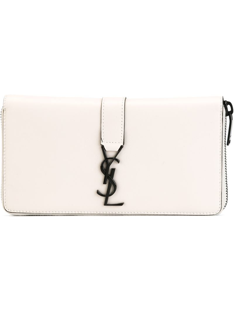 ad3a492342 Lyst - Saint Laurent  ysl  Continental Wallet in White