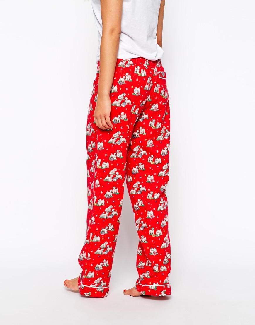 cath kidston holidays billie sleepwear long pj bottom in red