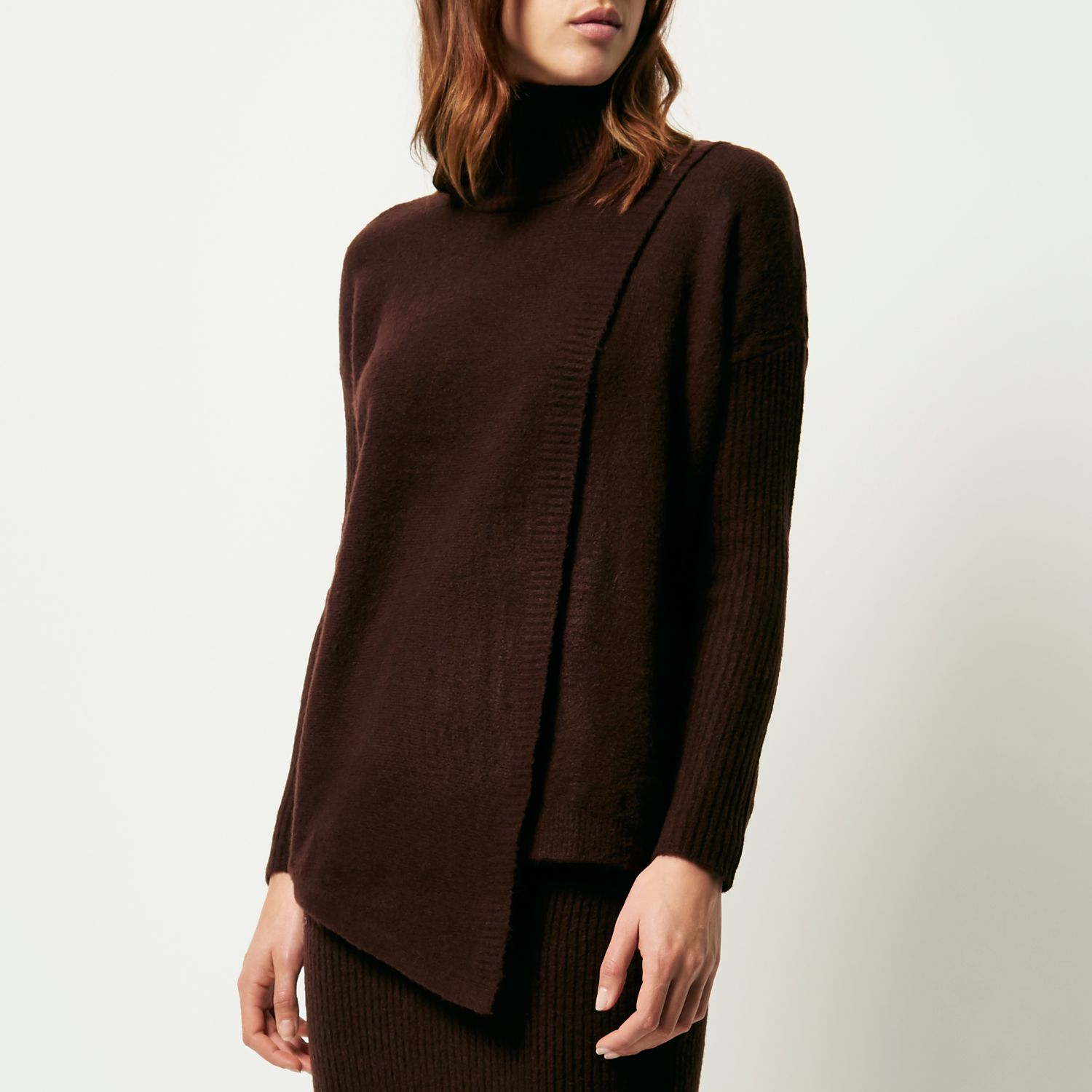 27c03635e6d653 Lyst - River Island Chocolate Brown Asymmetric Knitted Jumper in Brown