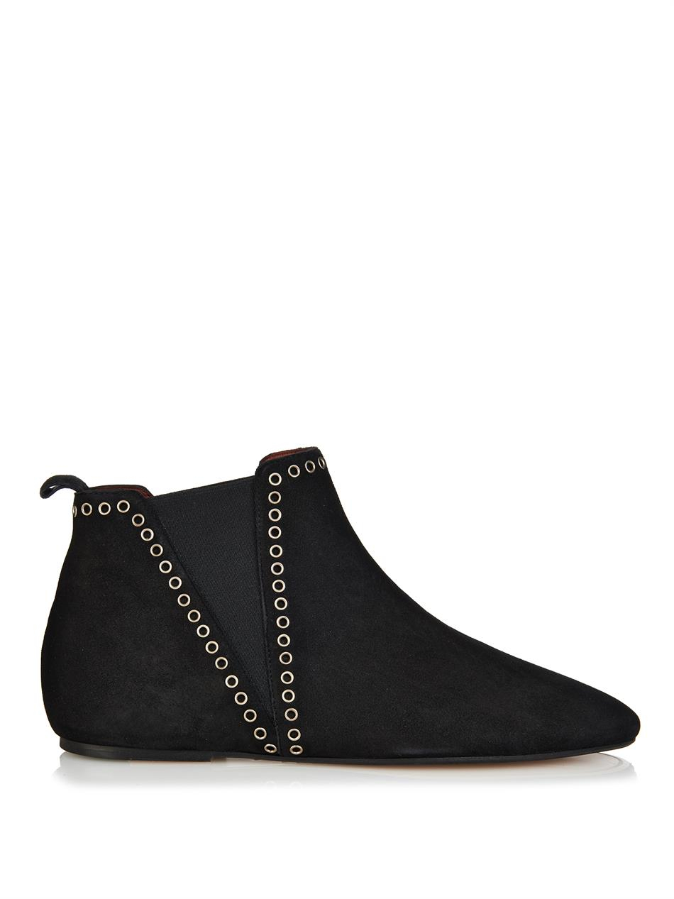 isabel marant lars flat suede boots in black lyst. Black Bedroom Furniture Sets. Home Design Ideas