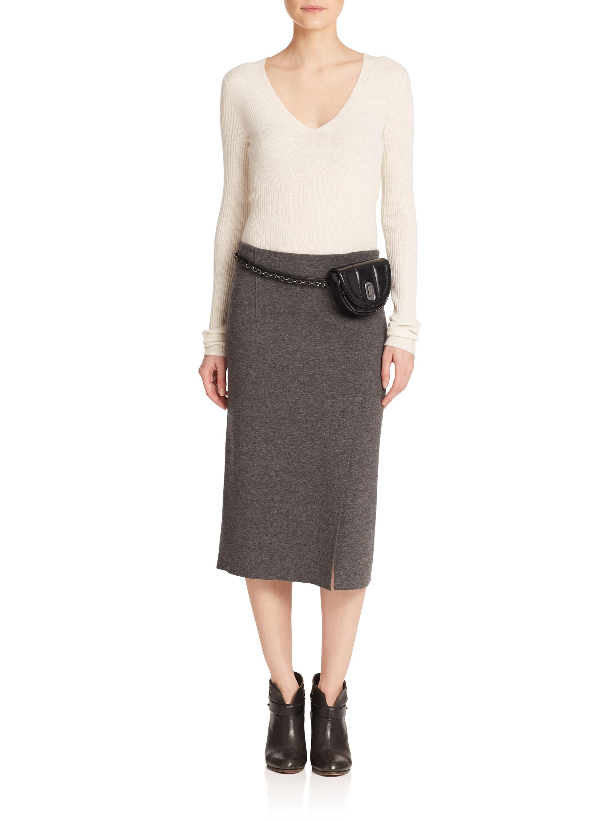 Rag & bone Alanna Merino Wool Midi Skirt in Gray | Lyst