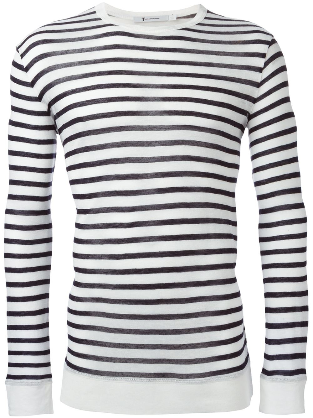T by alexander wang striped long sleeve t shirt in blue Striped long sleeve t shirt