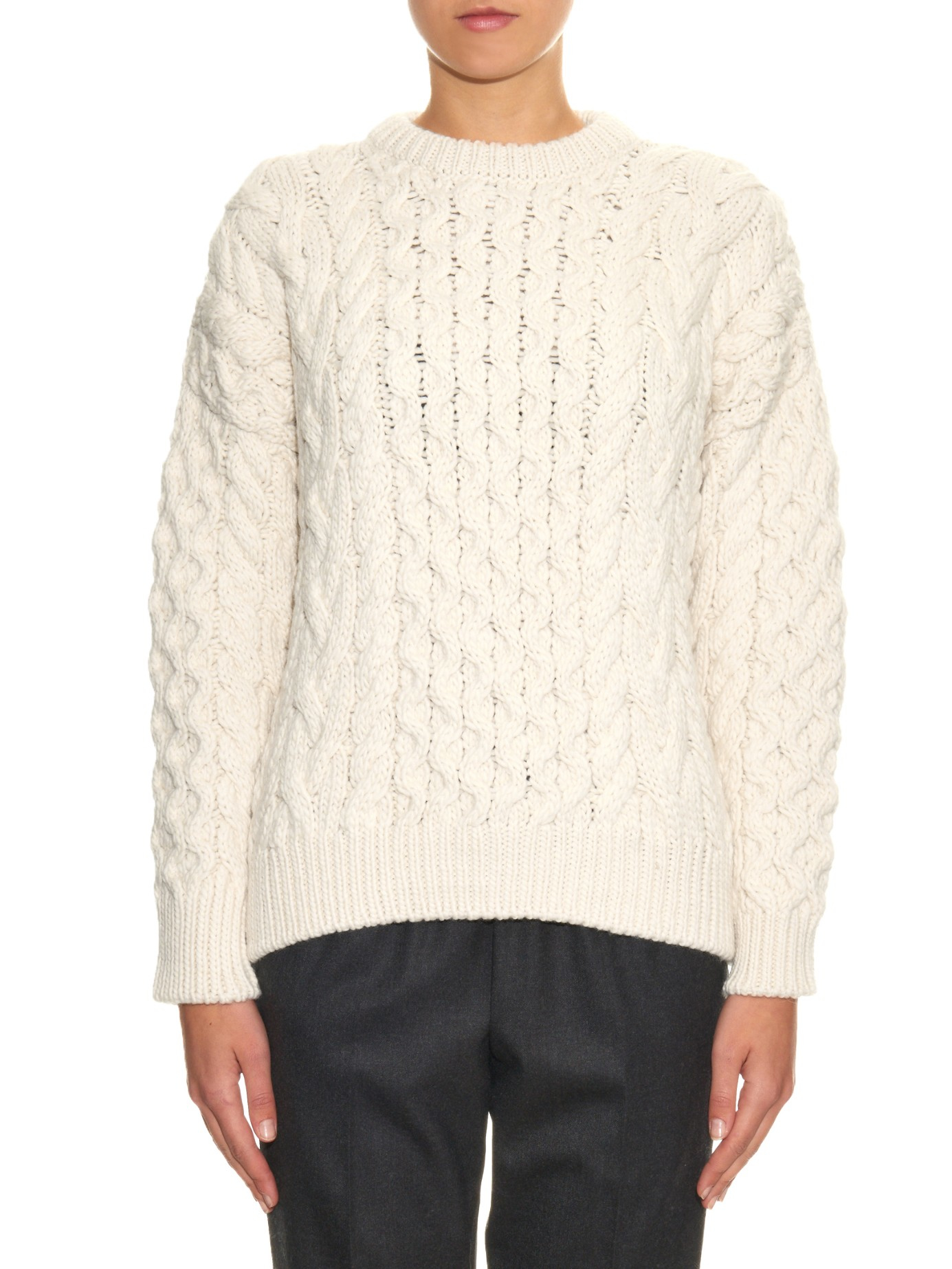 Joseph Chunky Cable-knit Wool Sweater in White | Lyst