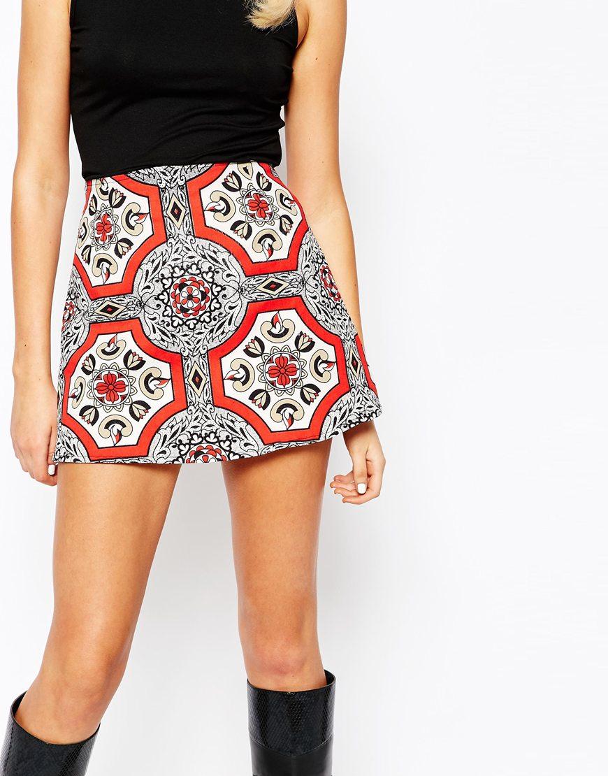 Motel A-line Mini Skirt In Retro Print | Lyst