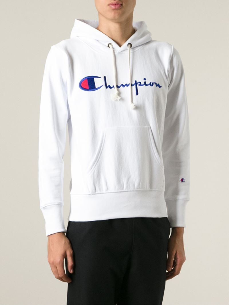 ad9b37c615f1a Lyst - Champion Logo Hoodie in White for Men