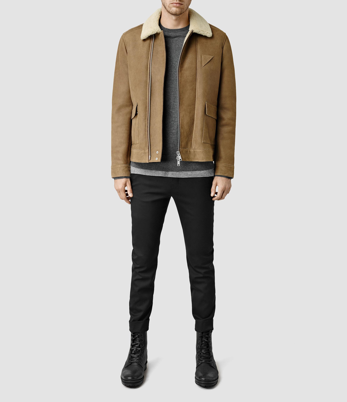 Allsaints Bedford Shearling Jacket In Brown For Men Lyst