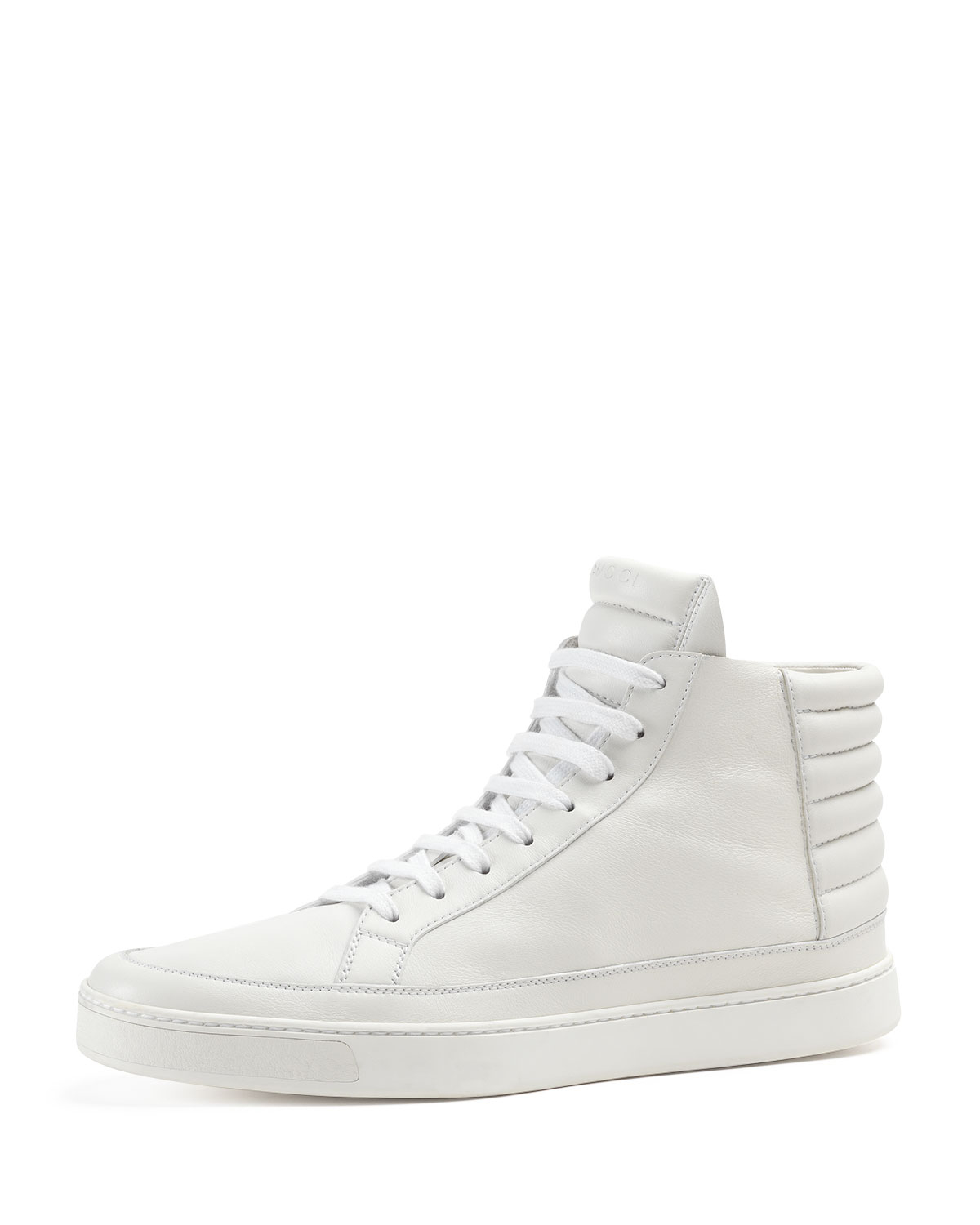gucci leather high top sneaker in white for men lyst. Black Bedroom Furniture Sets. Home Design Ideas