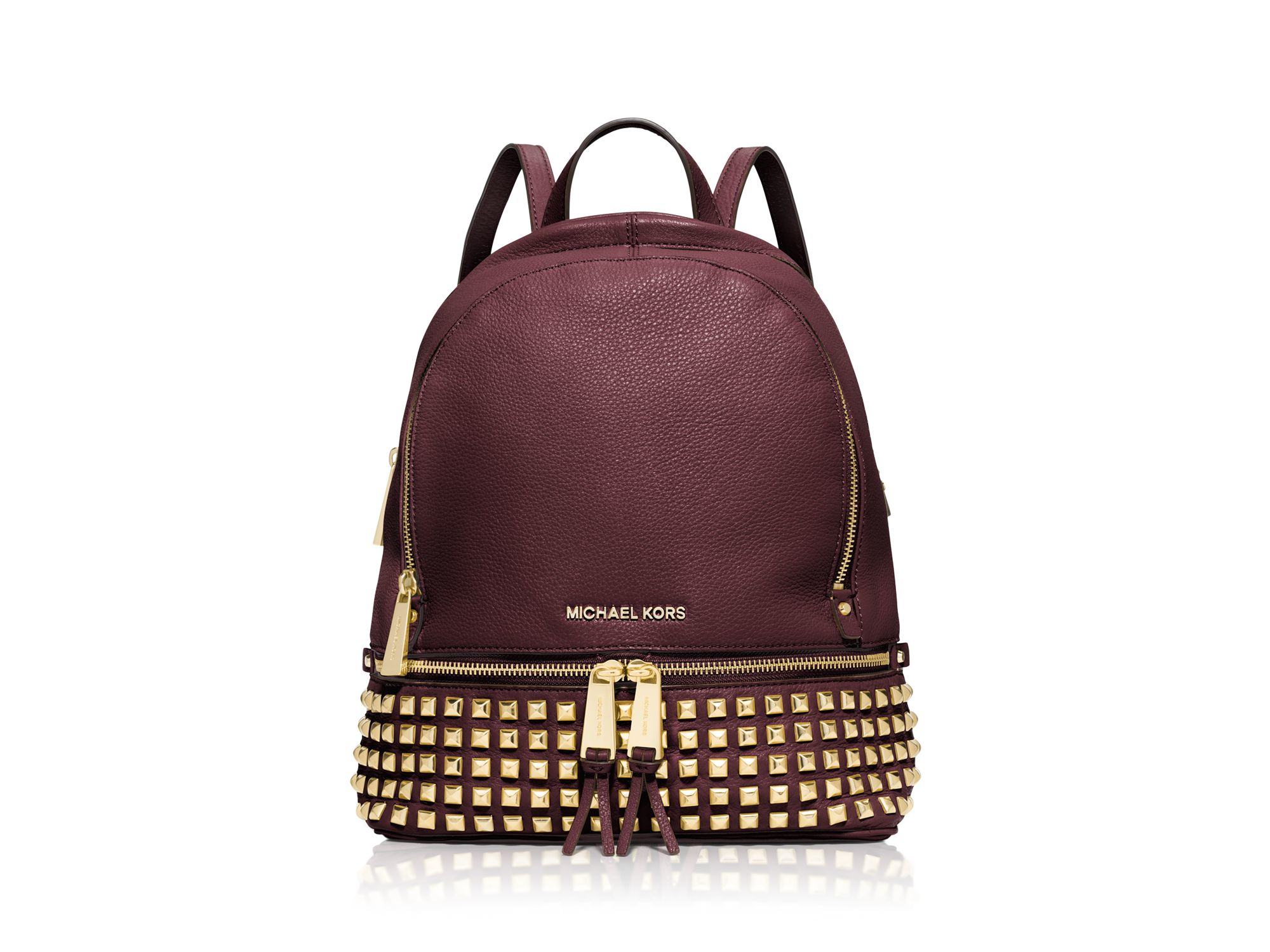 a6e87df8f742 ... australia lyst michael michael kors small rhea zip studded backpack in  purple 13203 6ea6c