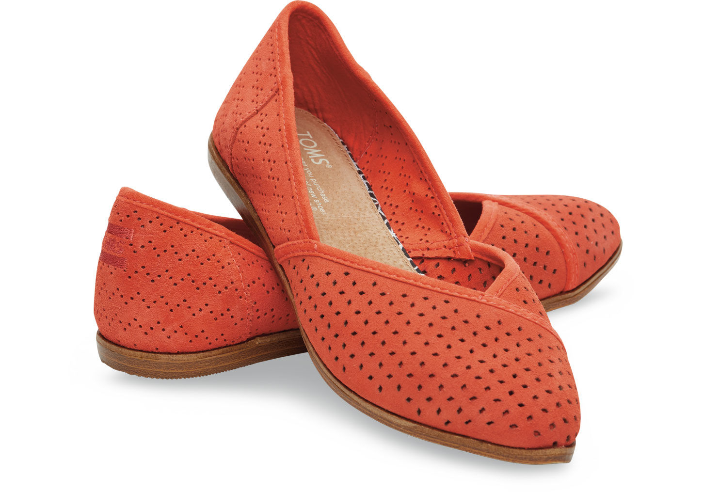 b4d2aad7e TOMS Fiesta Suede Perforated Women'S Jutti Flats in Red - Lyst