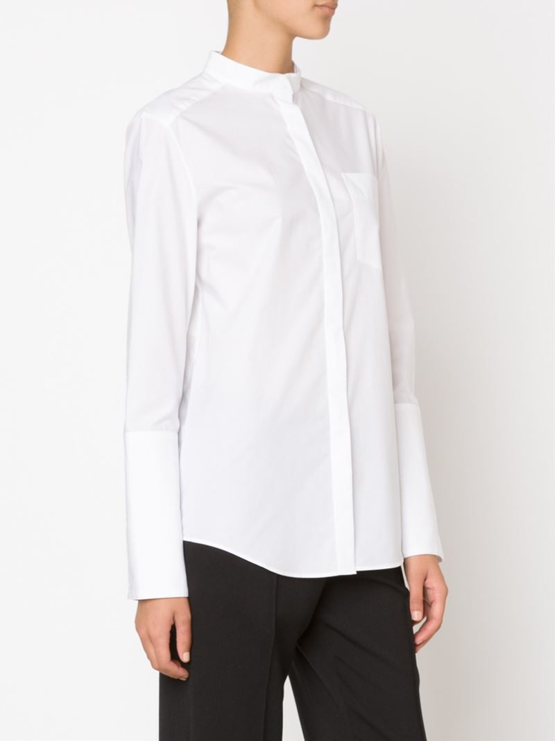 Lyst Protagonist Band Collar Shirt In White