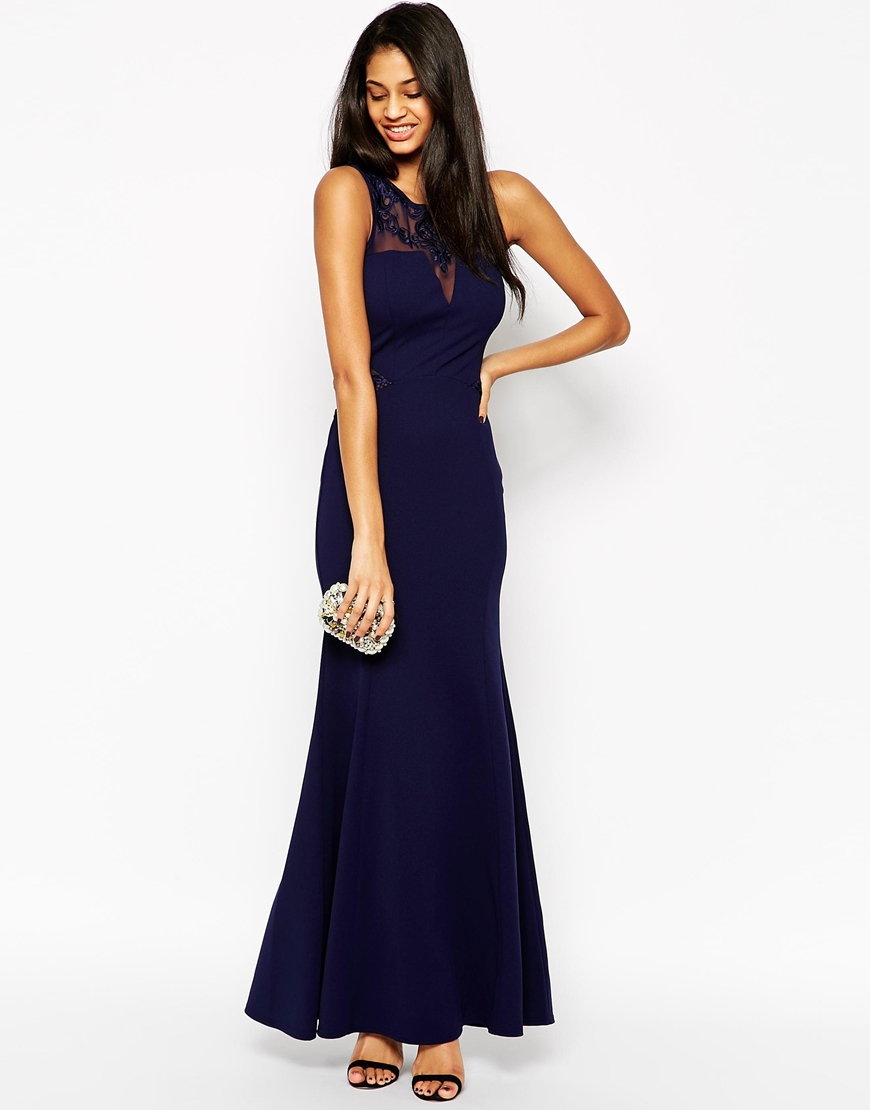 Lipsy Slinky Maxi Dress With Lace Neck In Blue Lyst