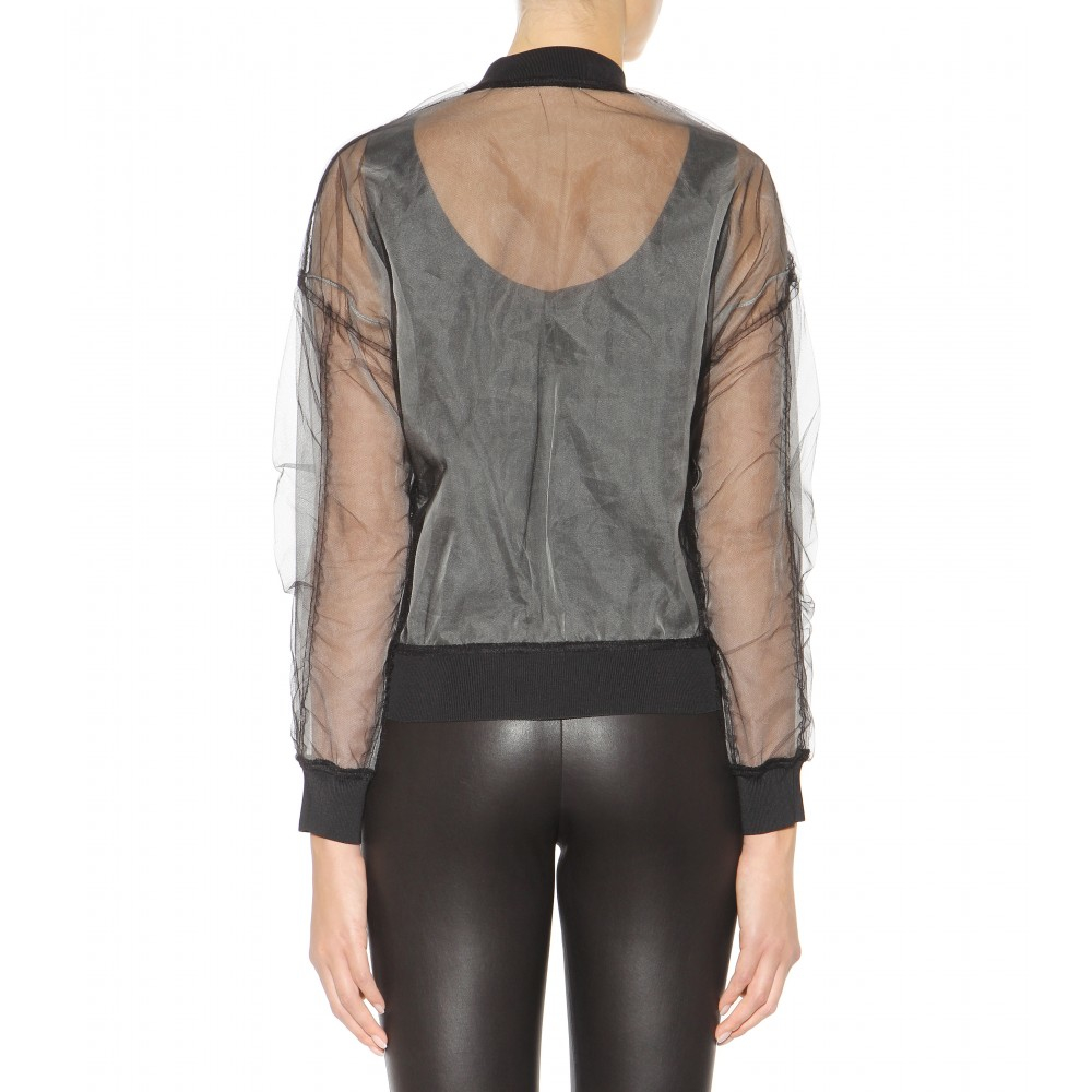 3.1 Phillip Lim Lace and Mesh Bomber Jacket in Black