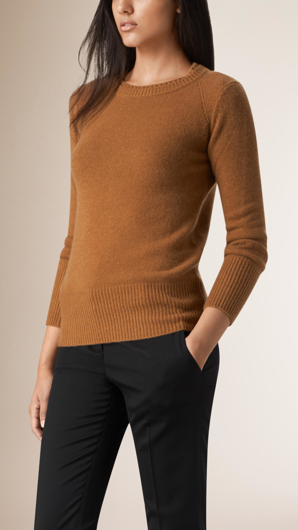 Burberry Crew Neck Cashmere Sweater Camel in Brown | Lyst