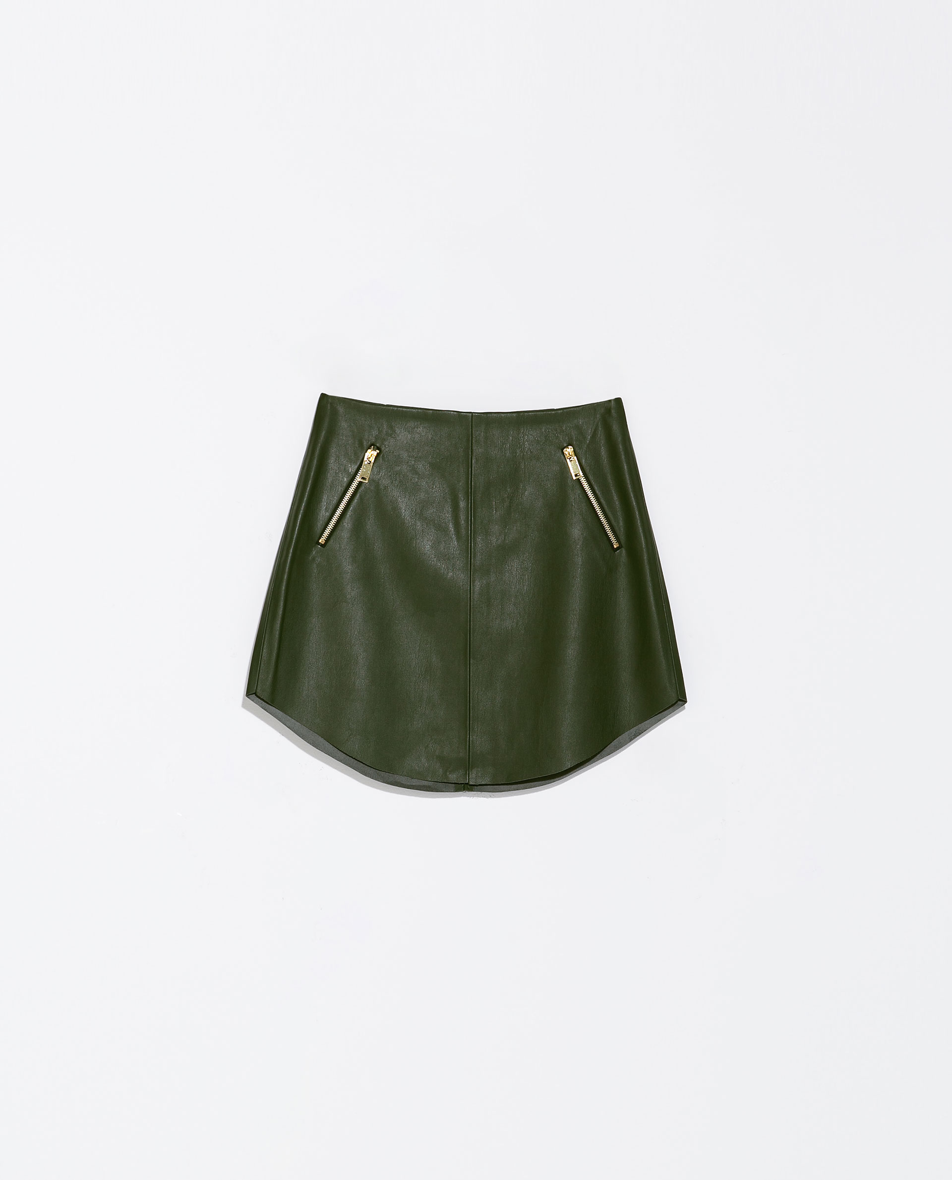 Zara Imitation Leather Skirt with Zips in Green | Lyst