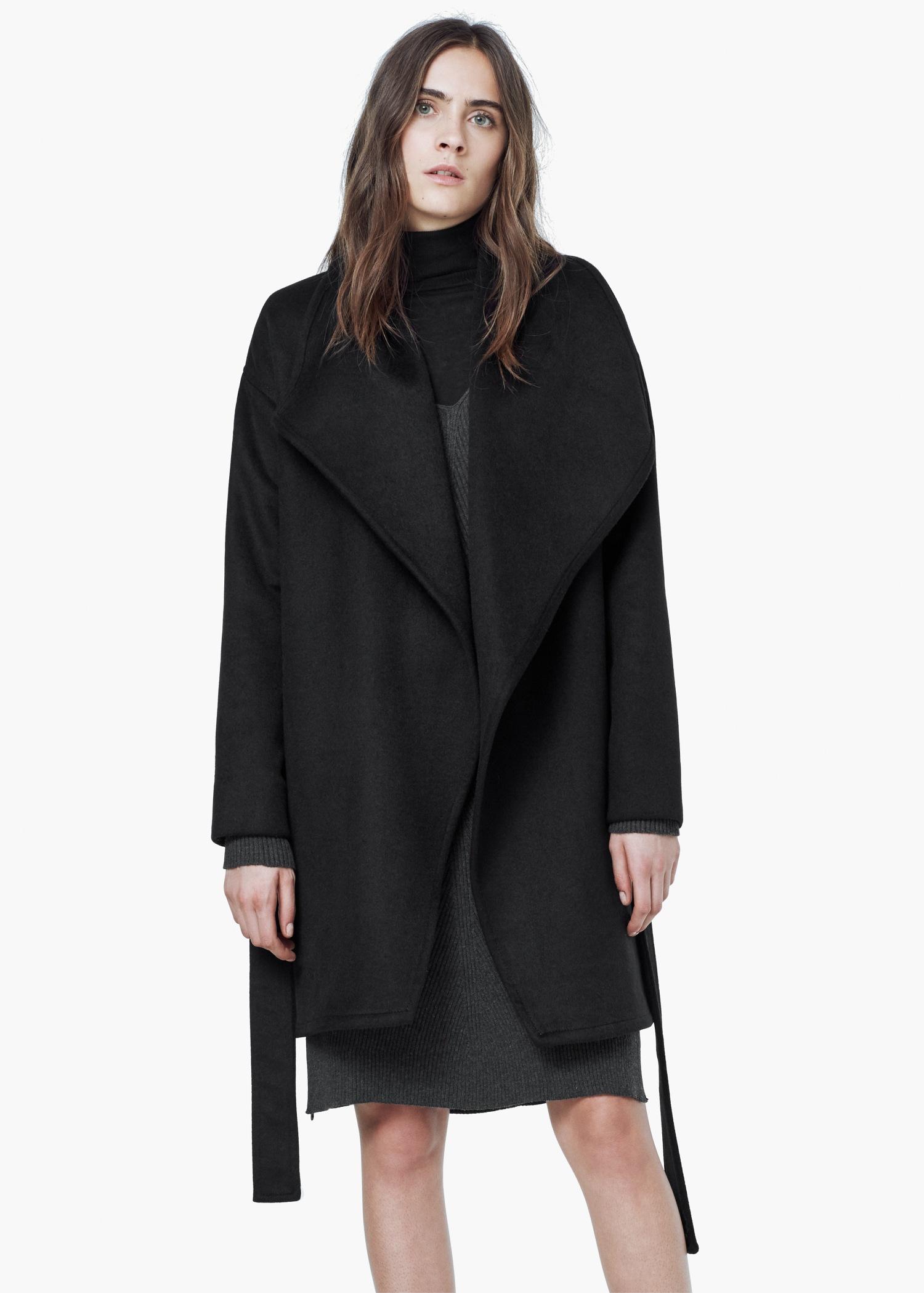 Mango Waterfall Wool-blend Coat in Black | Lyst