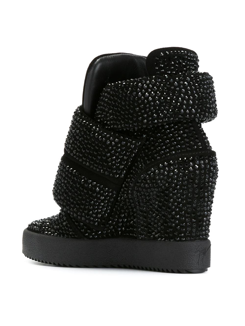 b0842fffa4c Lyst - Giuseppe Zanotti Hi-top Sneakers With Rhinestones in Black