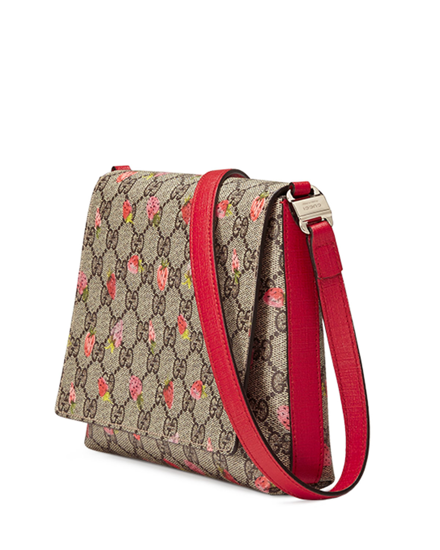 3d7335f5f73 Lyst - Gucci Girls  Strawberry-print Gg Supreme Canvas Messenger Bag ...