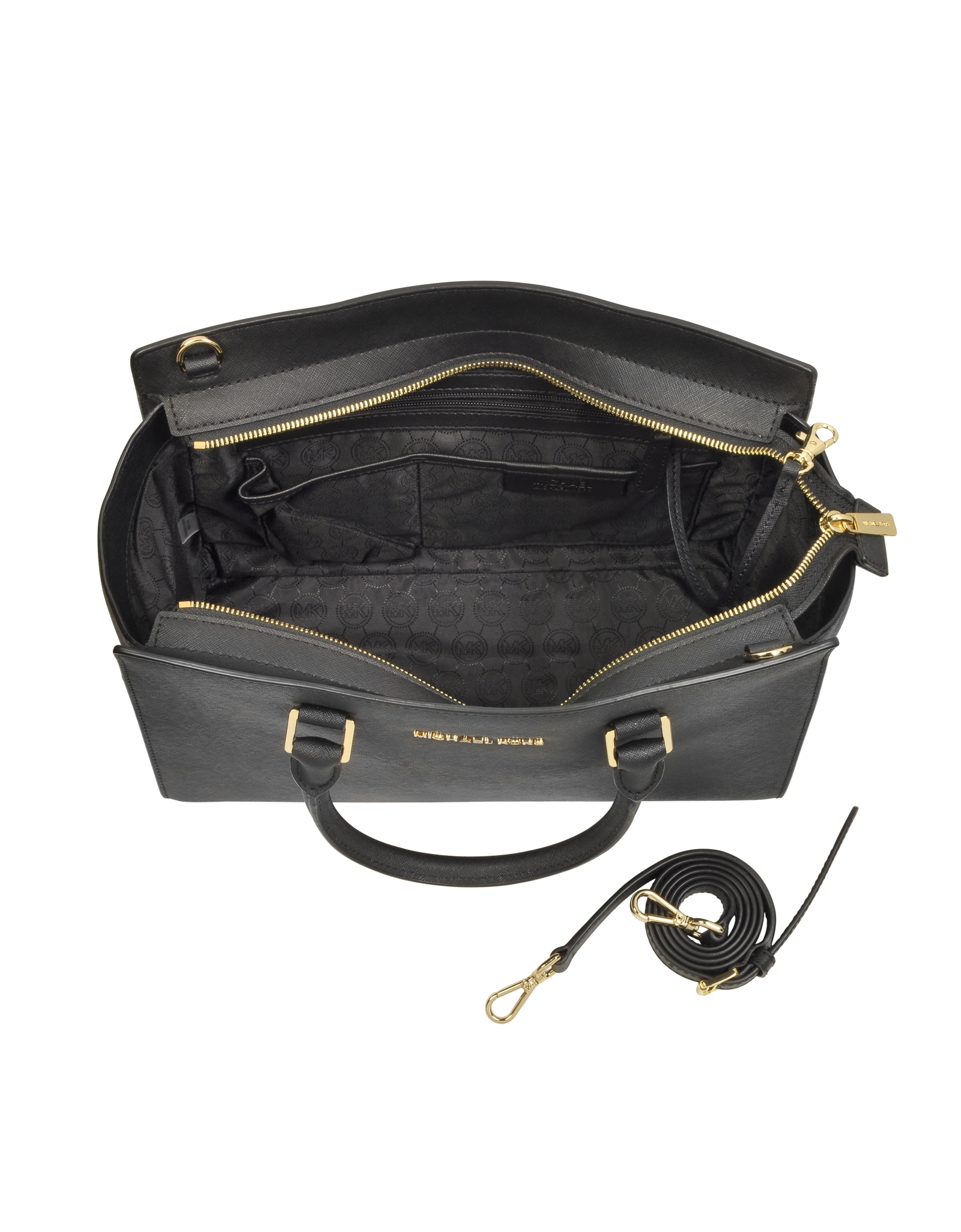 7b31c76925b10b Michael Kors Selma Large Top-zip Saffiano Leather Satchel in Black ...