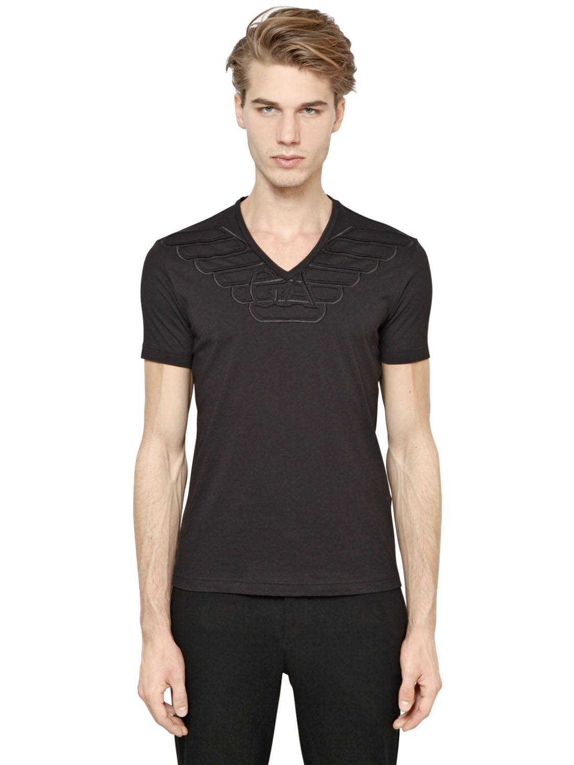 Emporio armani v neck cotton modal t shirt in black for for Modal t shirts mens
