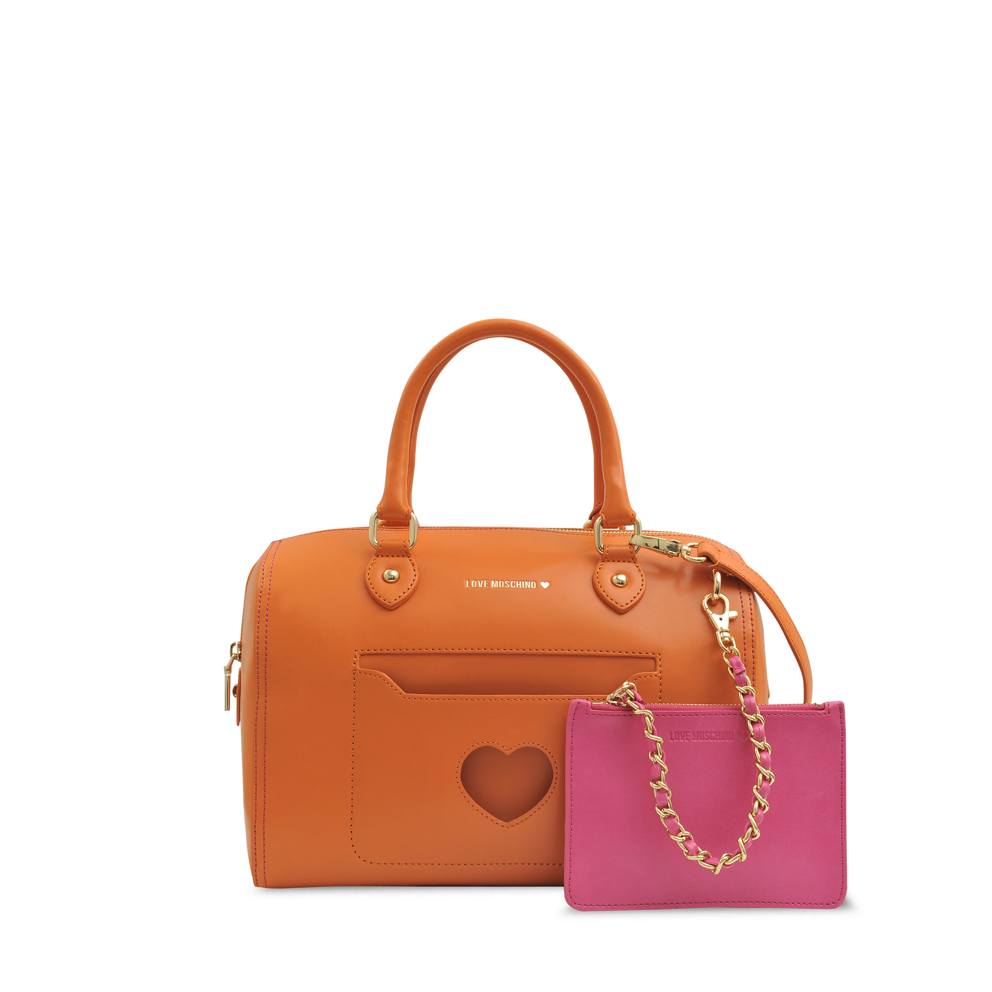 love moschino peace and love bowling bag in orange lyst. Black Bedroom Furniture Sets. Home Design Ideas