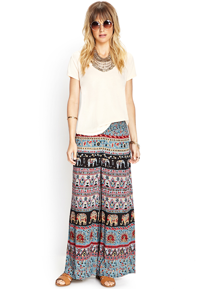 Forever 21 Print Wide-leg Pants | Lyst