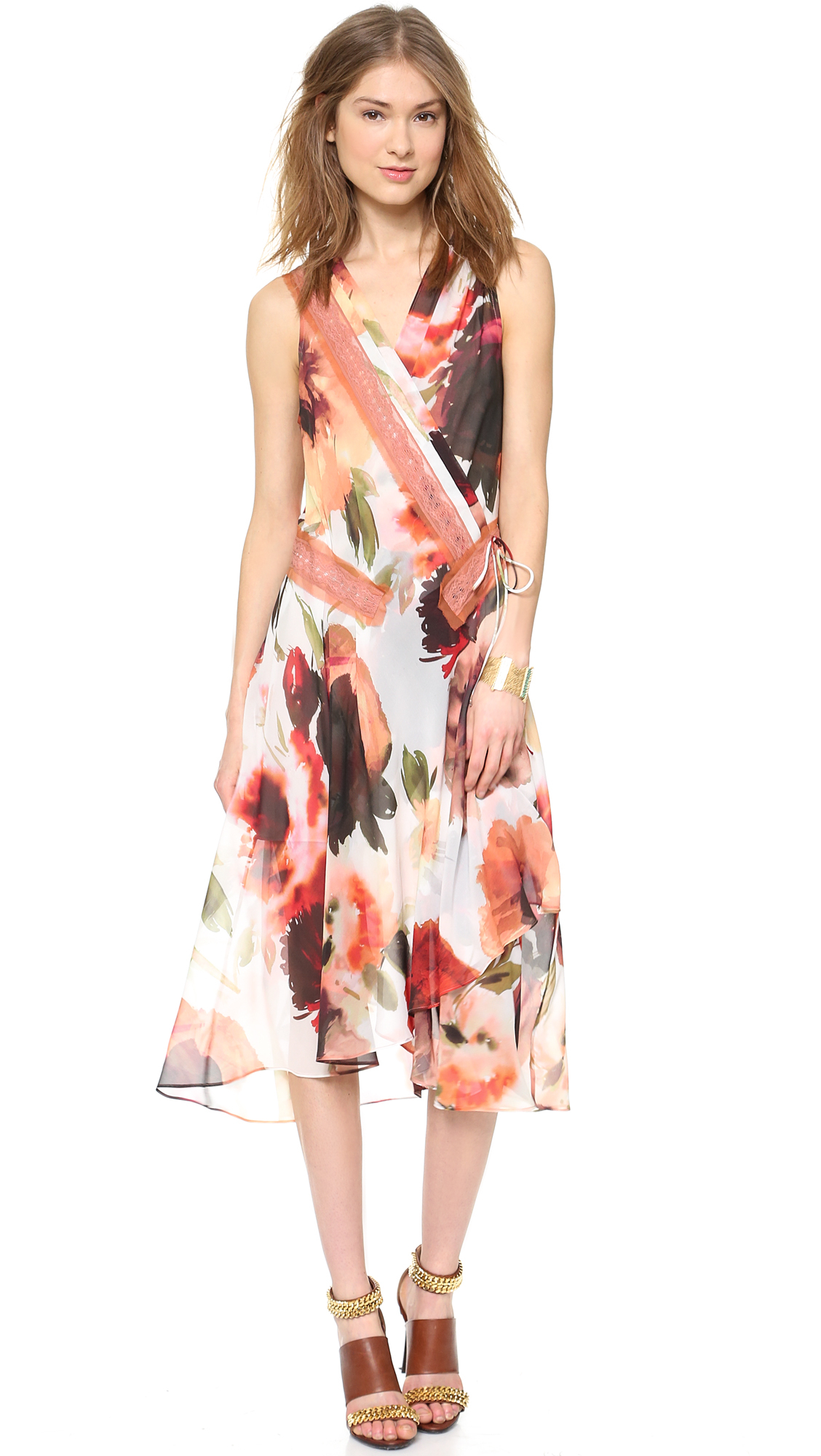 Haute hippie floral wrap dress in multicolor vintage rose for To have and to haute dress