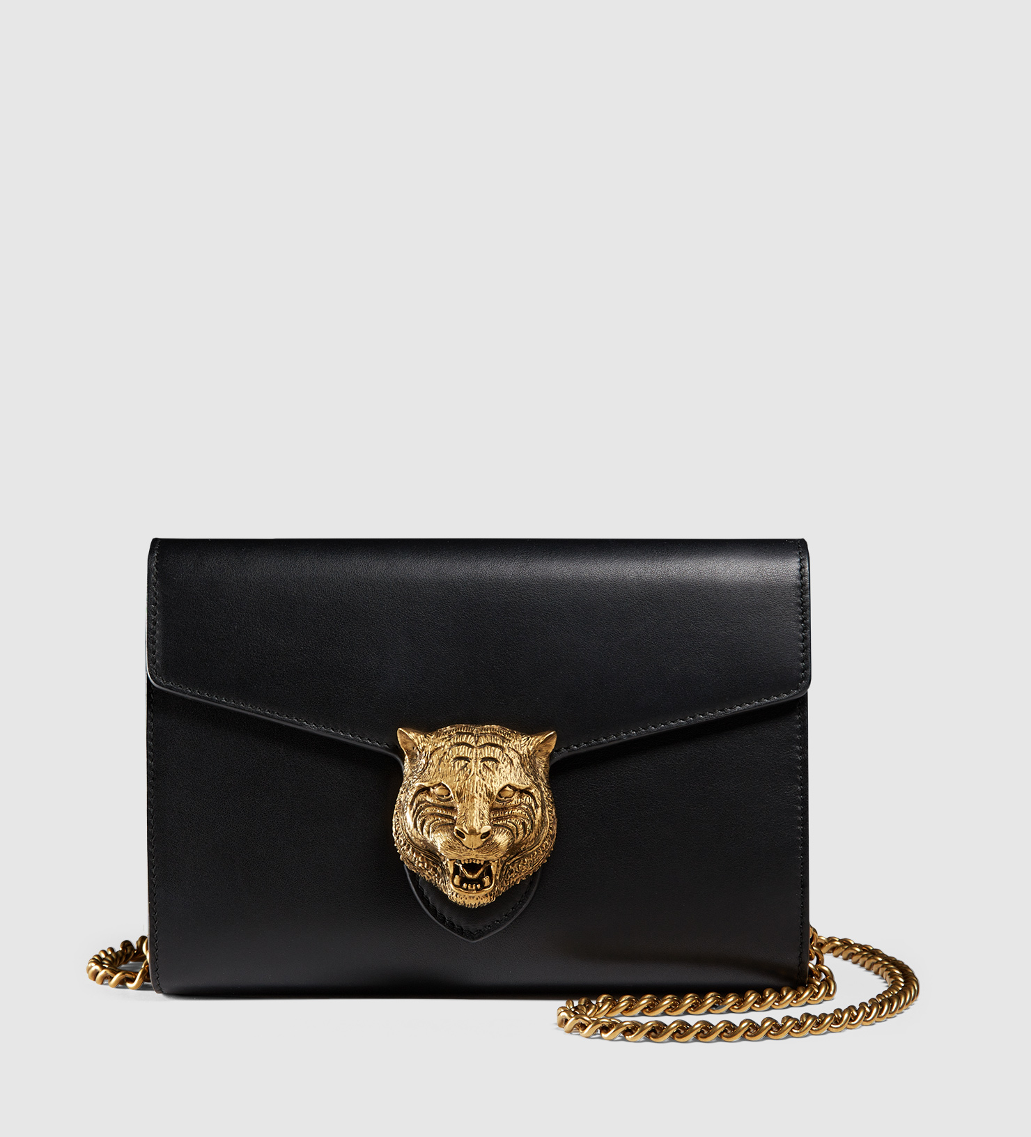 a40f4bb24455 Gucci Animalier Leather Chain Wallet in Black - Lyst
