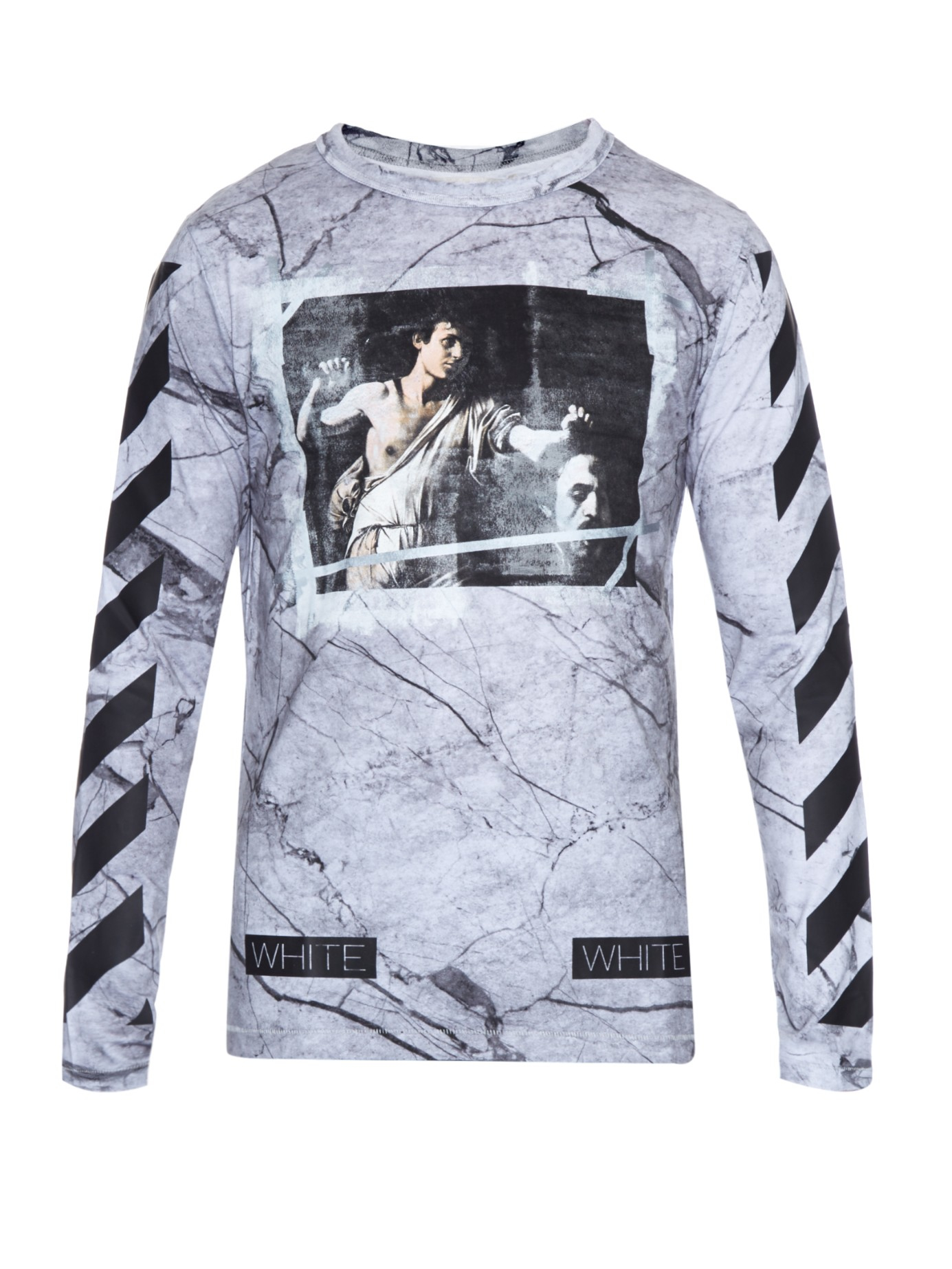 Off-white c/o virgil abloh Marble-print Long-sleeved T-shirt in ...