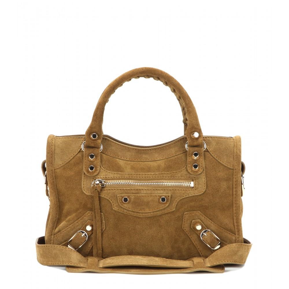 10f51e01edd5 Lyst - Balenciaga Classic Mini City Suede Shoulder Bag in Brown