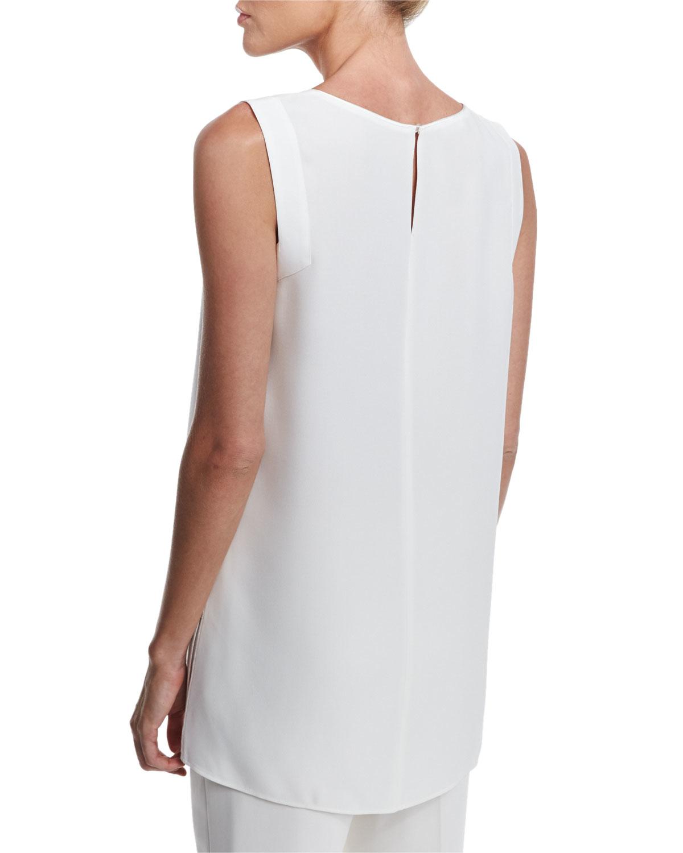 Lyst Lafayette 148 New York Sasha Sleeveless Silk Blouse In White