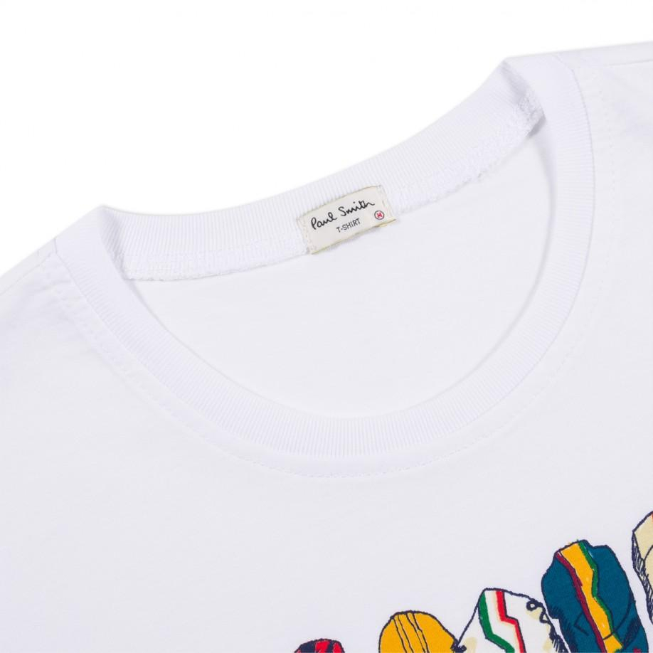 Paul Smith Cycling Caps Printed T Shirt In White For Men