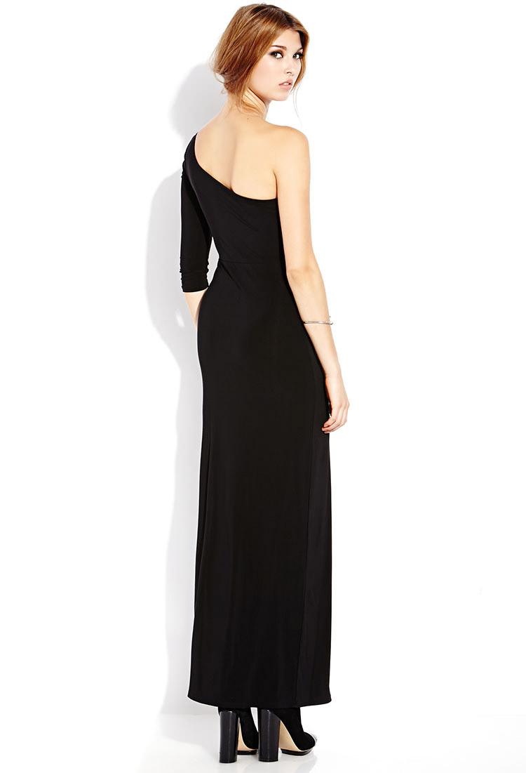 Forever 21 Bold One-Shoulder Maxi Dress in Black   Lyst